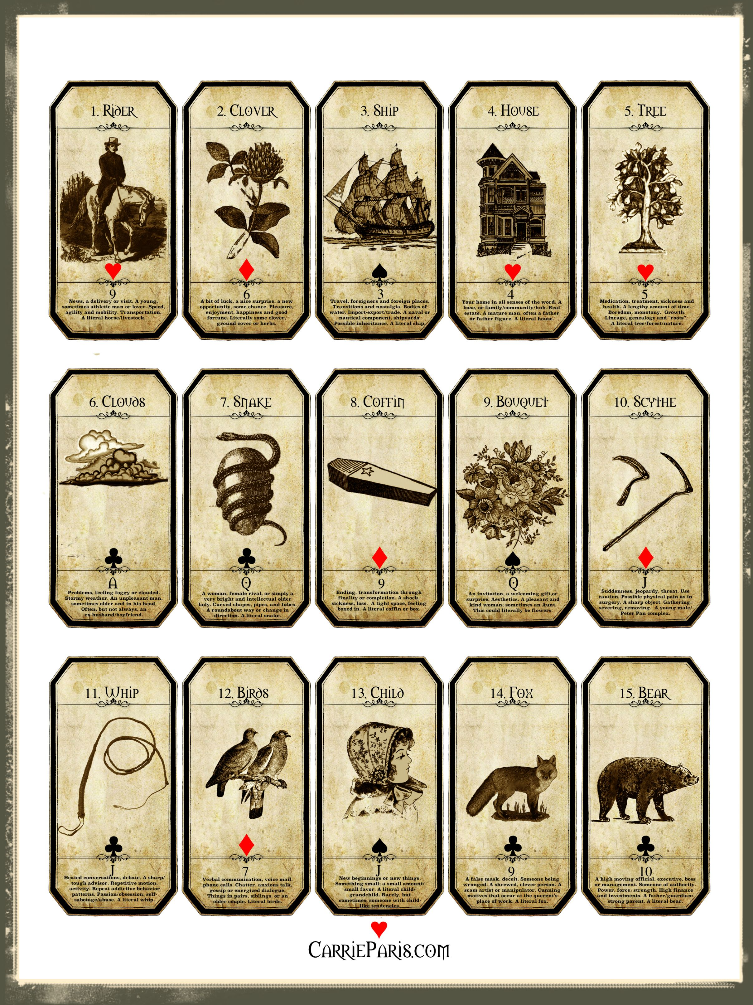 Lenormand flashcards 115 print out all 36 also see http