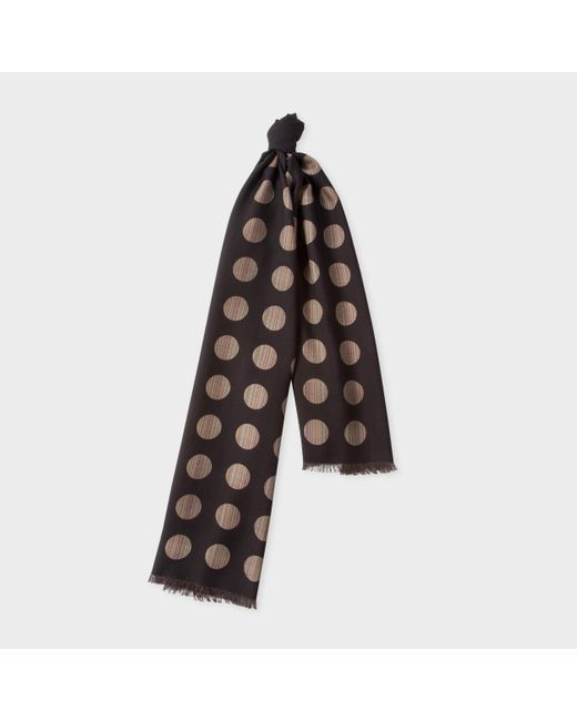 76b80ebb8c240 Paul Smith | Men's Black Signature Stripe Polka Dot Wool-silk Scarf for Men  | Lyst