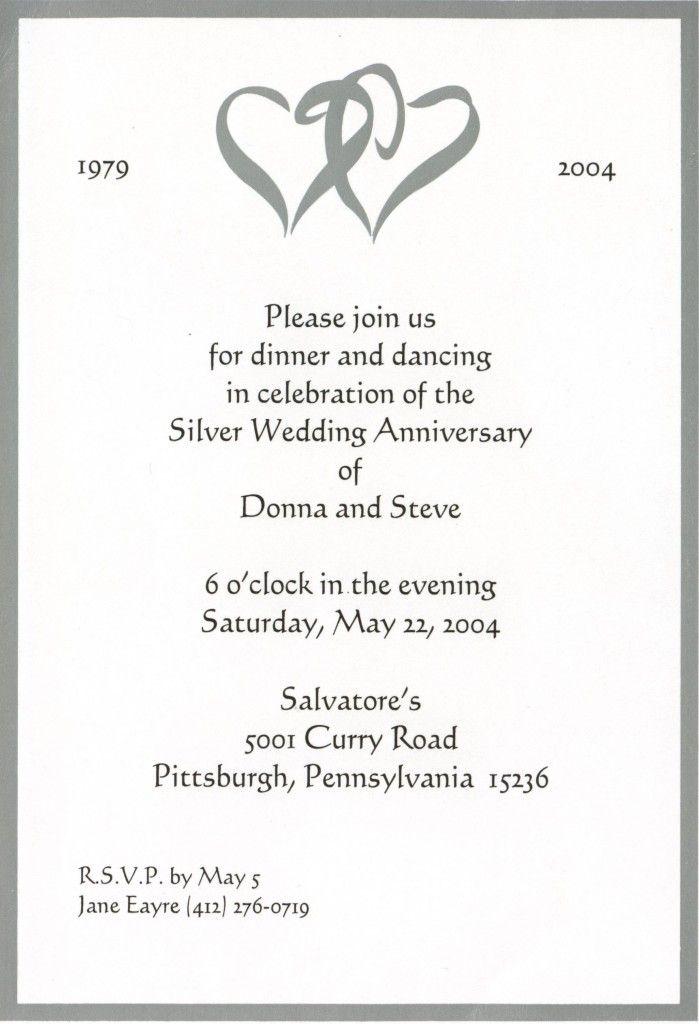 25th Marriage Anniversary Of Mom Dad Invitation Card