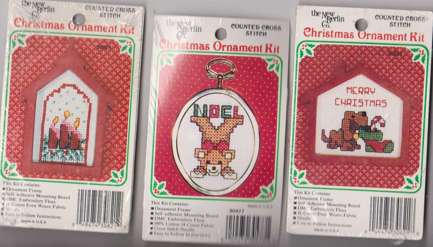 NEW 6 Counted Cross Stitch CCS Designs Christmas Tree Ornament Kits ...
