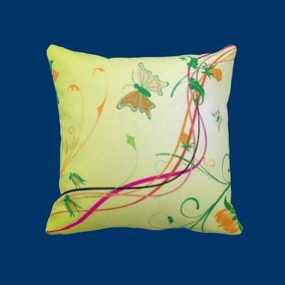 Butterflies and Strings Throw Pillows by fstasu57