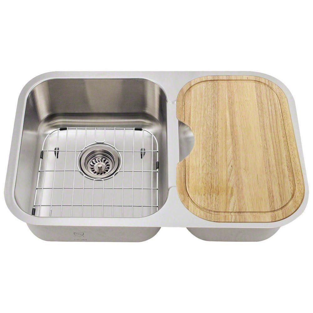 Polaris Sinks Undermount Stainless Steel 28 In Double Bowl Kitchen Sink Kit Pl035 Ens The Home Depot Double Bowl Kitchen Sink Sink Double Basin Kitchen Sink
