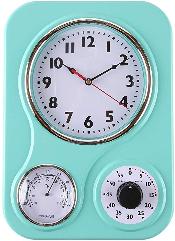 Amazon Com Lily S Home Retro Kitchen Wall Clock With A