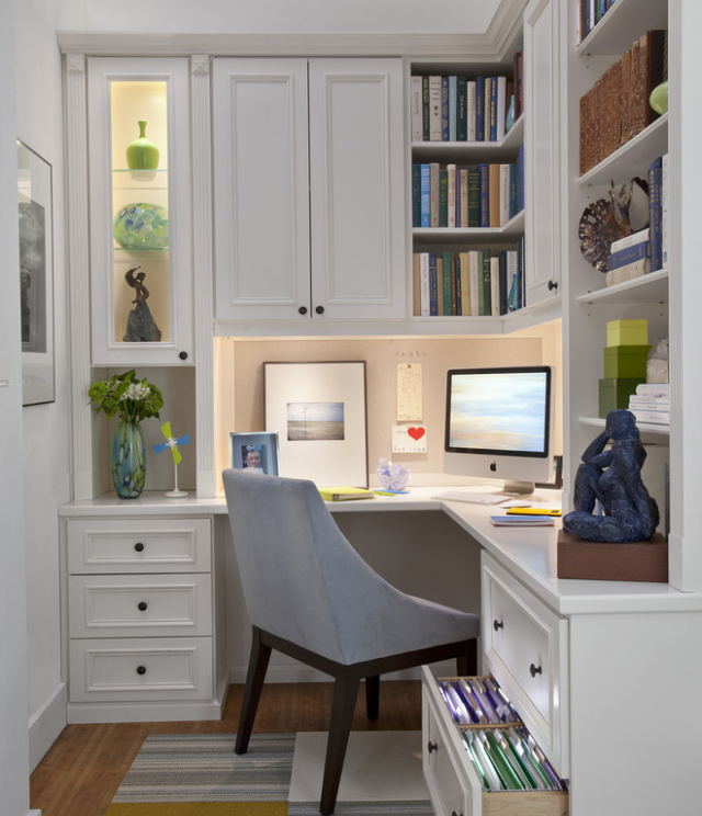Great Office: Small But Functional Space, Great Office Nook.