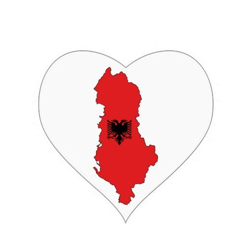 Albania - map and flag - sticker - Shqiperia - harta e Shqiperise dhe shqiponja e flamurit