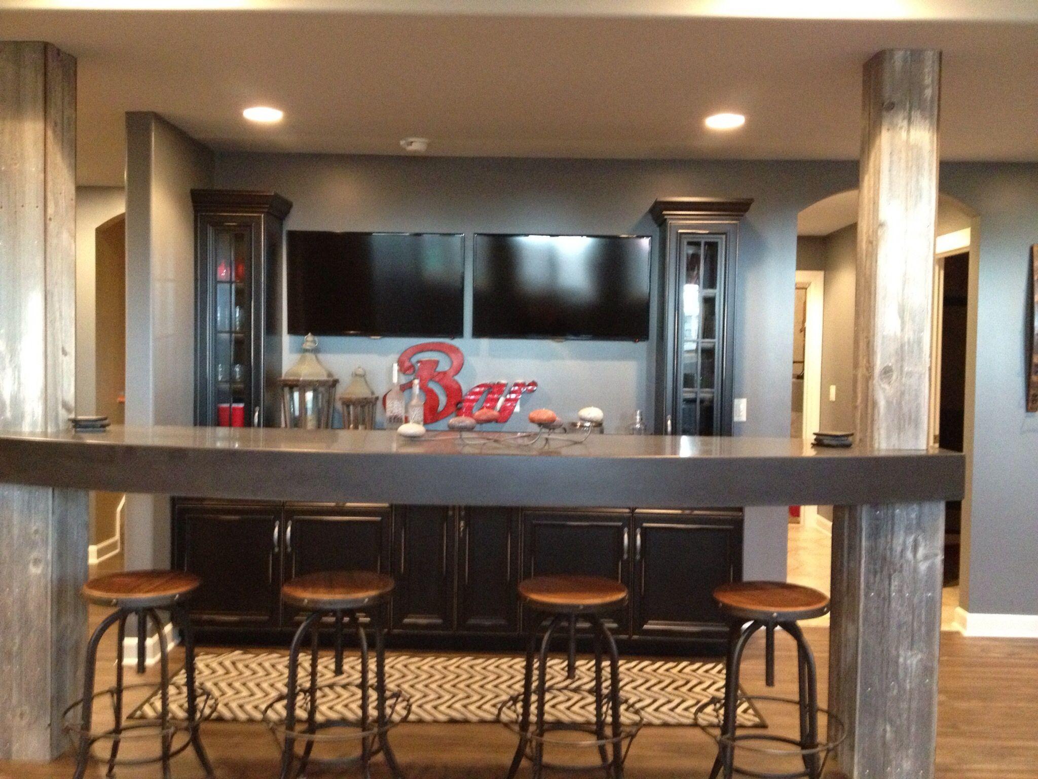 Basement Bar. Rustic meets modern. Custom cabinetry, Steelskin ...