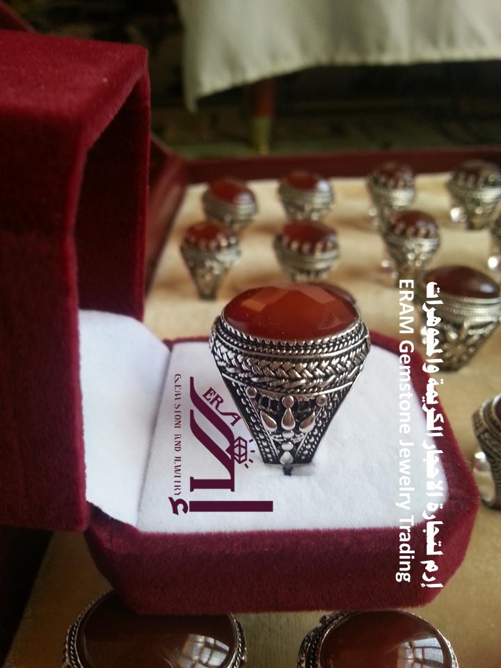 خواتم رجالي كلاسيك 11 عقيق يمني احمر كبدي دم الغزال قص ياقوتي عادي درجة اولى Agate Gemstones Jewelry