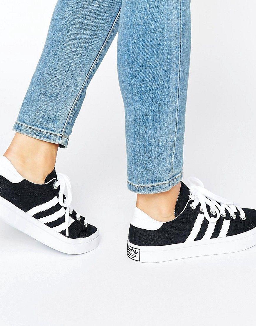 adidas Originals Black And White Court Vantage Trainers at asos ...