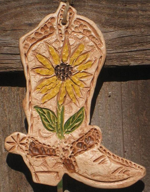 Rustic Sunflower Cowboy Boot By Texasangelgifts On Etsy