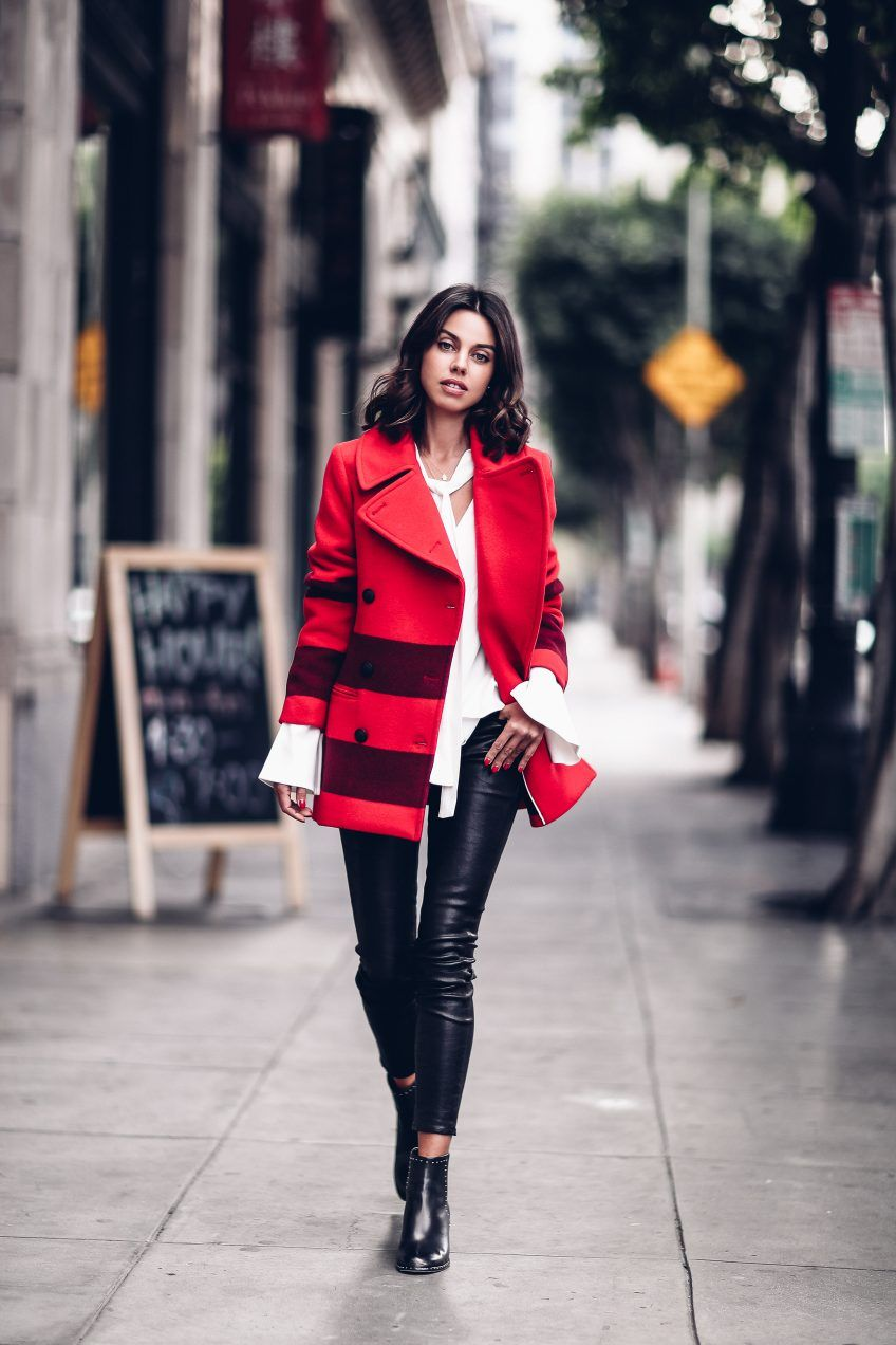 Casual outfit - Rag & Bone red coat + skinny leather pants