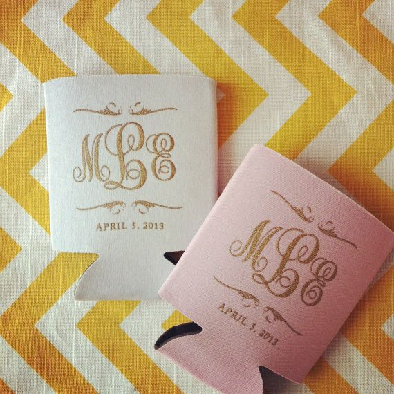 Totally Wedding Koozies.Preppy Monogram Wedding Can Cooler Wedding Favors Scroll Monogram