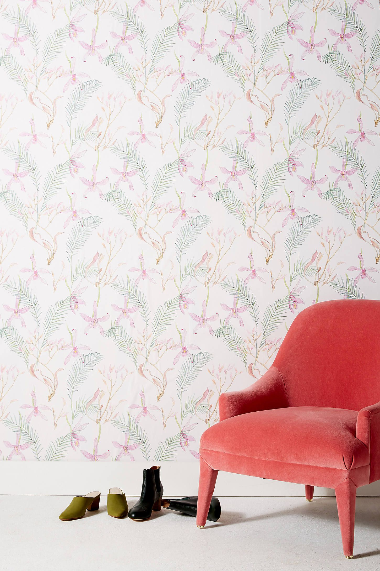Anthropologie Iris Wallpaper by January Waters in Pink, Wall Decor