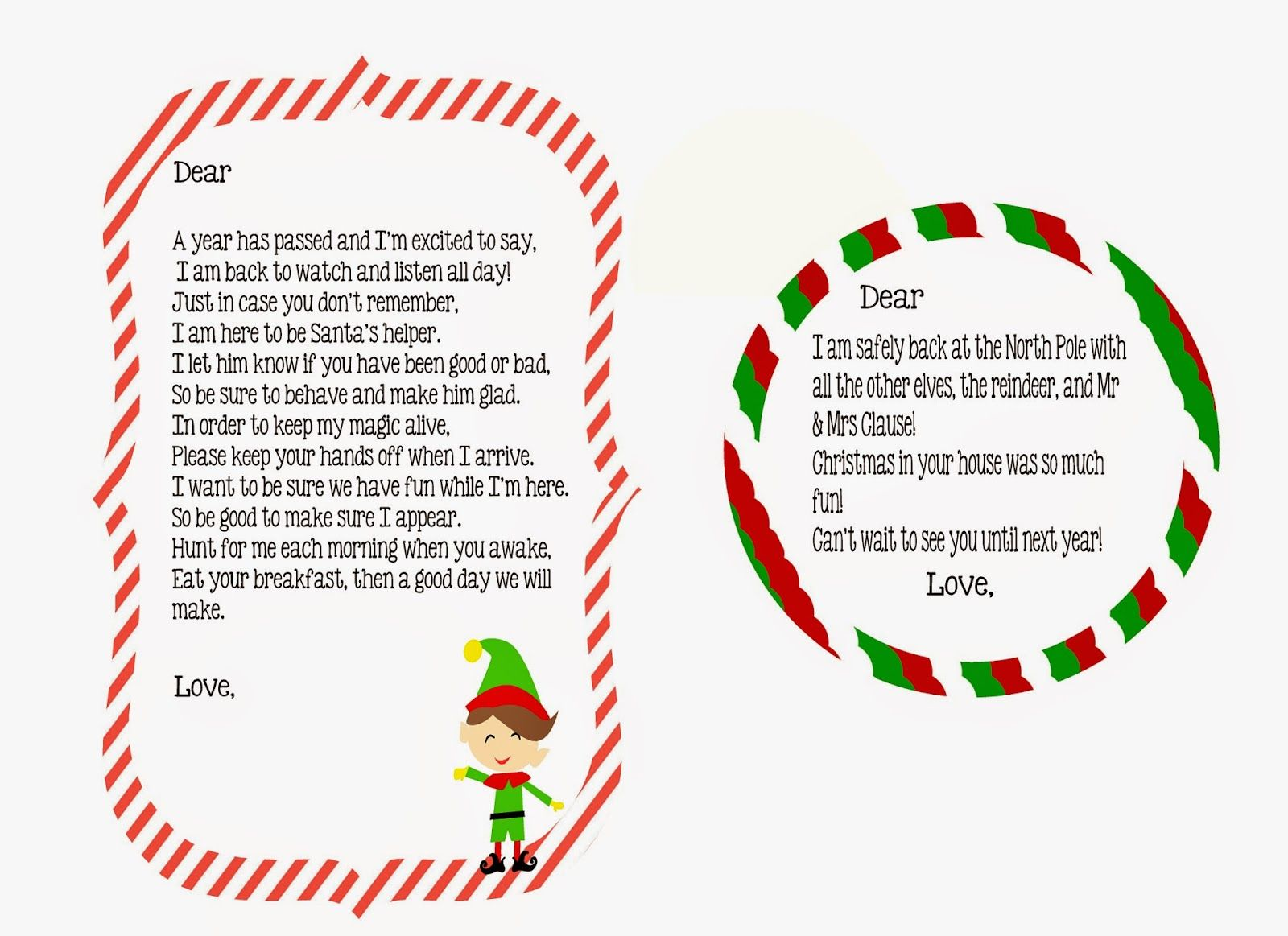 Elf On The Shelf Return Letter Free Printable  Little Blue