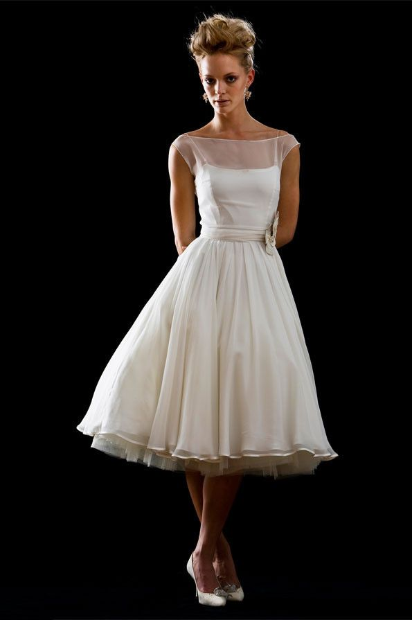 Retro modest 50s 60s short tea length wedding dress for 1950 wedding dresses tea length