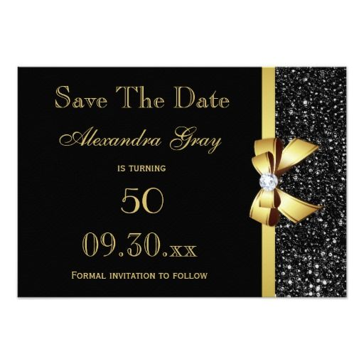 any age birthday save the date black and gold in 2018 save the