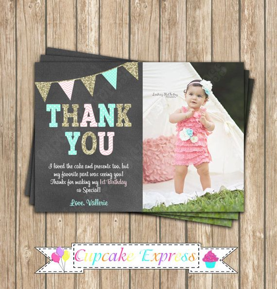 One First Birthday girl coral pink mint gold by CupcakeExpress – 1st Birthday Thank You Cards