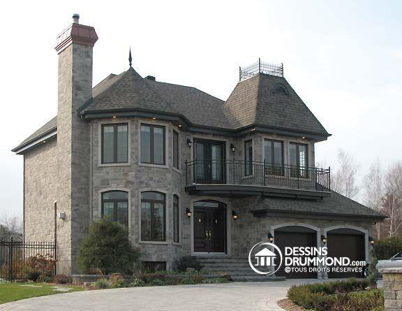 Plan de maison de style Manoir avec 4 chambres Modèle de maison