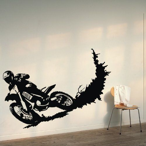 23 6 X 39 4 Motorcycle Racer Dirt Bike Motor Sport Decor Wall Saying Mural Vinyl Lettering Decal Sticker Diy Dirt Bike Bedroom Wall Decor Stickers Bike Room