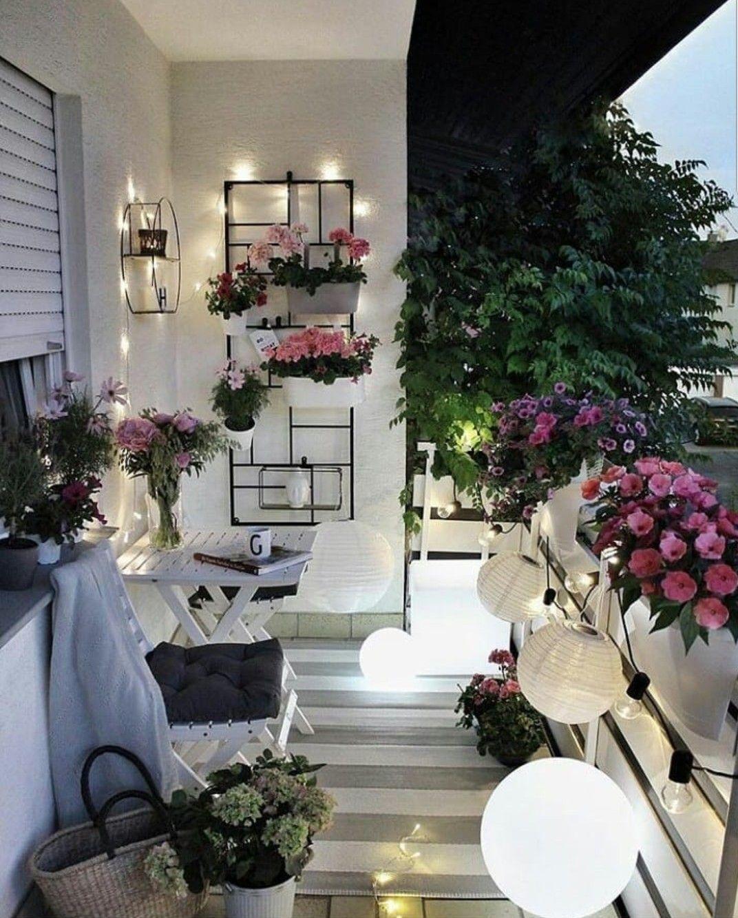 Pretty little porch wood cafe white wood flowers decoration terrace garden garden
