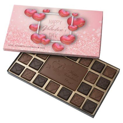 Valentine\'s Day Red Hearts Glitter Chocolate Box | Chocolate boxes