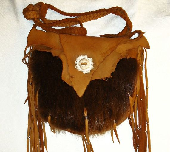 Leather and beaver fur possibles bag mountain man rendezvous pow wow cross  body 1bdd1c022ee1