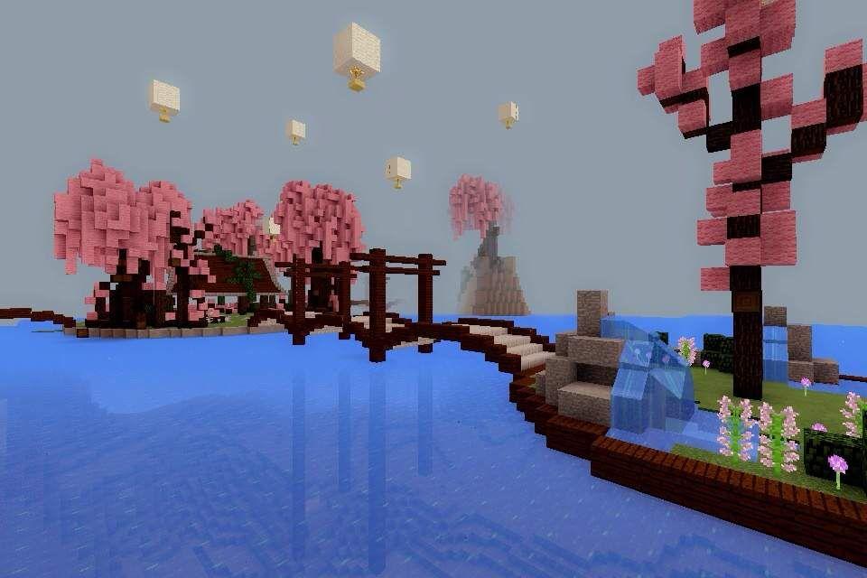 Minecraft Pe Build 8 Cherry Blossom Park Minecraft Minecraft