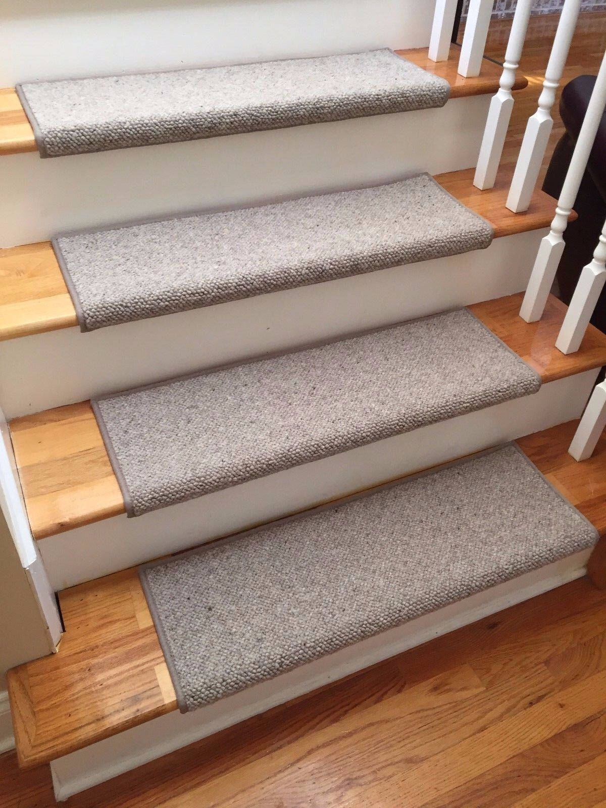 Alfa Stone 100 Wool True Bullnose Padded Carpet Stair Tread Handmade Step Cover Comfort Safety Dog Cat Pet Runner Sold Individually Carpet Stair Treads Carpet Stairs Handmade Step