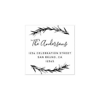 Script  Rosemary  Botanical Return Address Rubber Stamp  Return