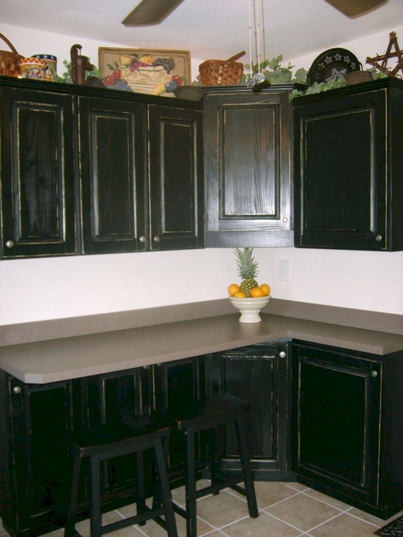 Black Distressed Kitchen Cabinets | Kitchen cabinet design ...