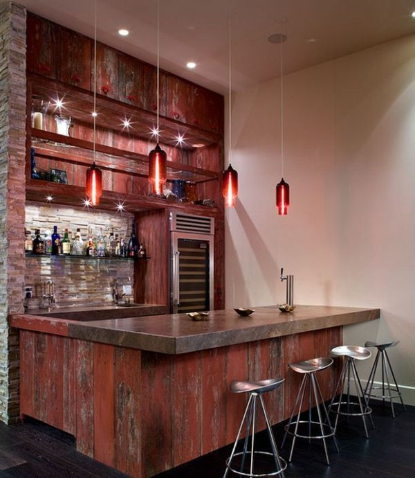 Musty and rustic feels on this modern home bar. #simple #comfortable ...