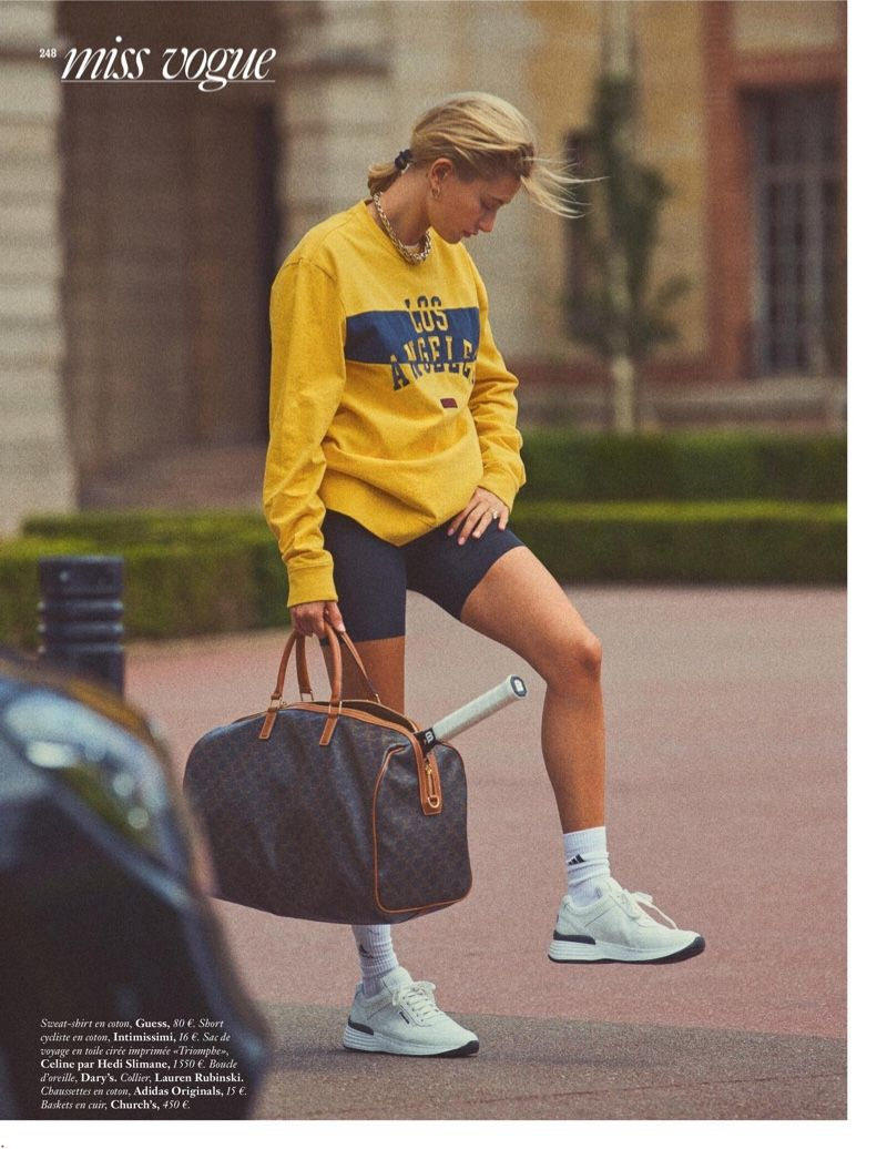 Hailey Baldwin Wears Chic Street Style for Vogue Paris