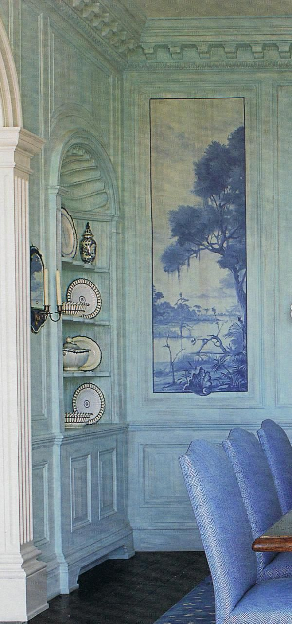 Fabric Wall Trim : Fabric or wallpaper insets in sponged walls with wood trim