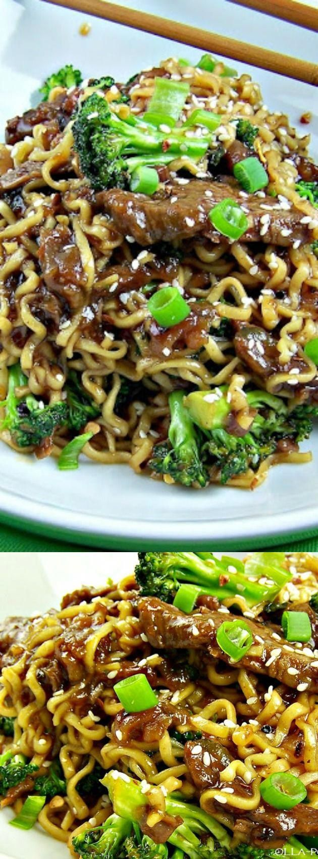 Easy One-Skillet Beef and Broccoli Ramen - The Best Blog Recipes #marinadeforbeef
