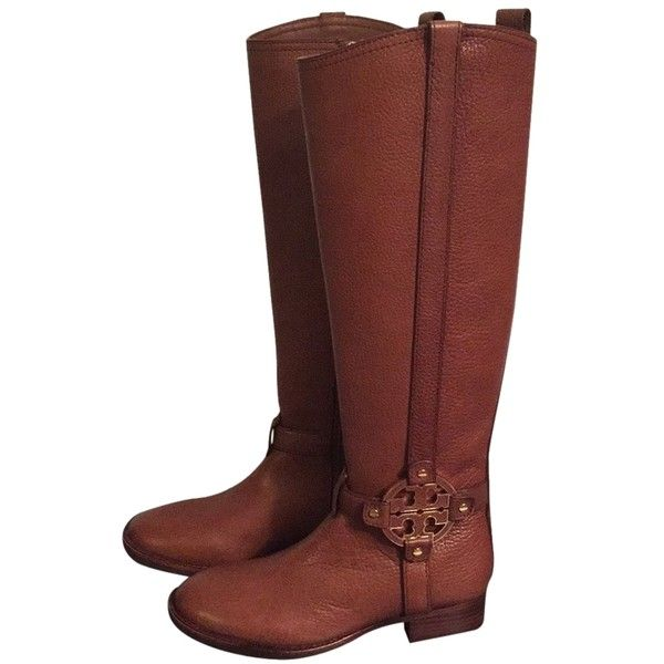 Pre-owned Tory Burch Riding Almond Boots ($365) ❤ liked on Polyvore featuring shoes, boots, almond, tory burch, zip boots, tory burch boots, leather equestrian boots and leather zipper boots