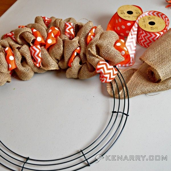How to make a burlap wreath with accent ribbon orange for Burlap ribbon craft ideas
