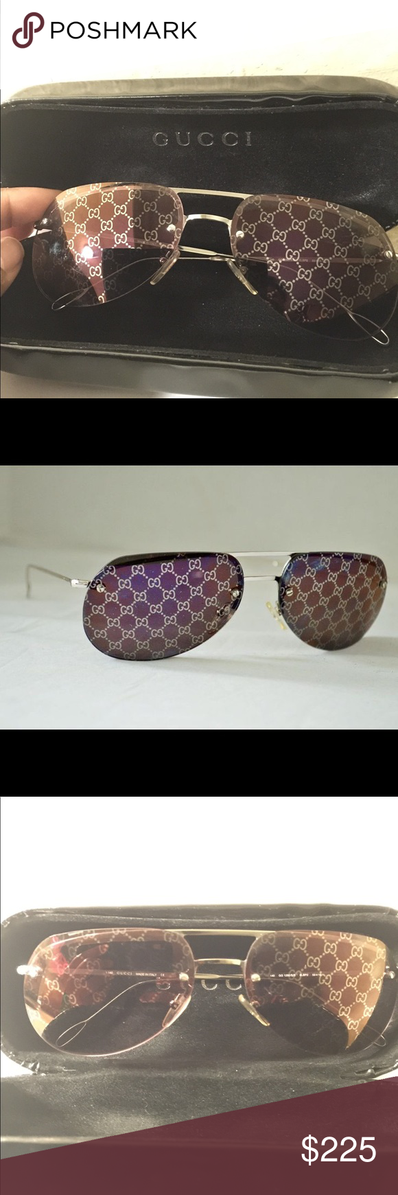 785f5c9ffb9 Gucci Hologram Monogram Sunglasses Vintage Gucci Aviator Sunglasses with  hologram monogrammed lenses. Silver hardware. In excellent condition.