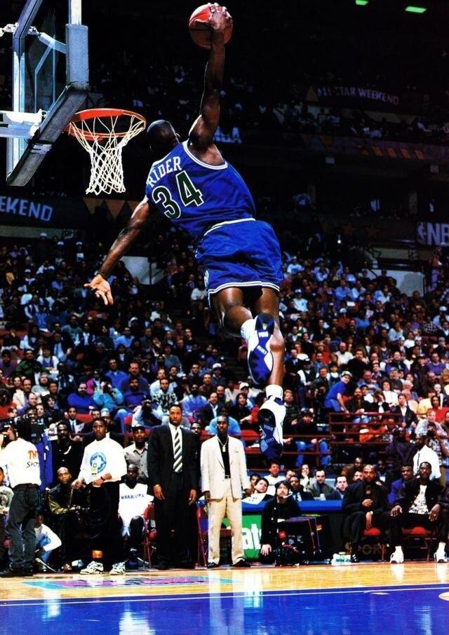 Isaiah Rider Slam Dunk Basketball Players Sports Basketball