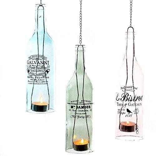 Hängewindlicht BOTTLE - Teelichthalter - Teelichtglas - Windlicht mit Kette (blau)