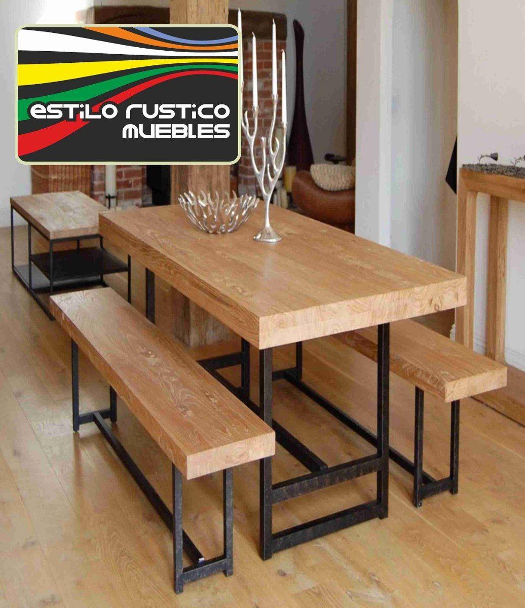 Mesa de hierro y madera con 2 bancos en for Mesas y sillas de madera para cocina
