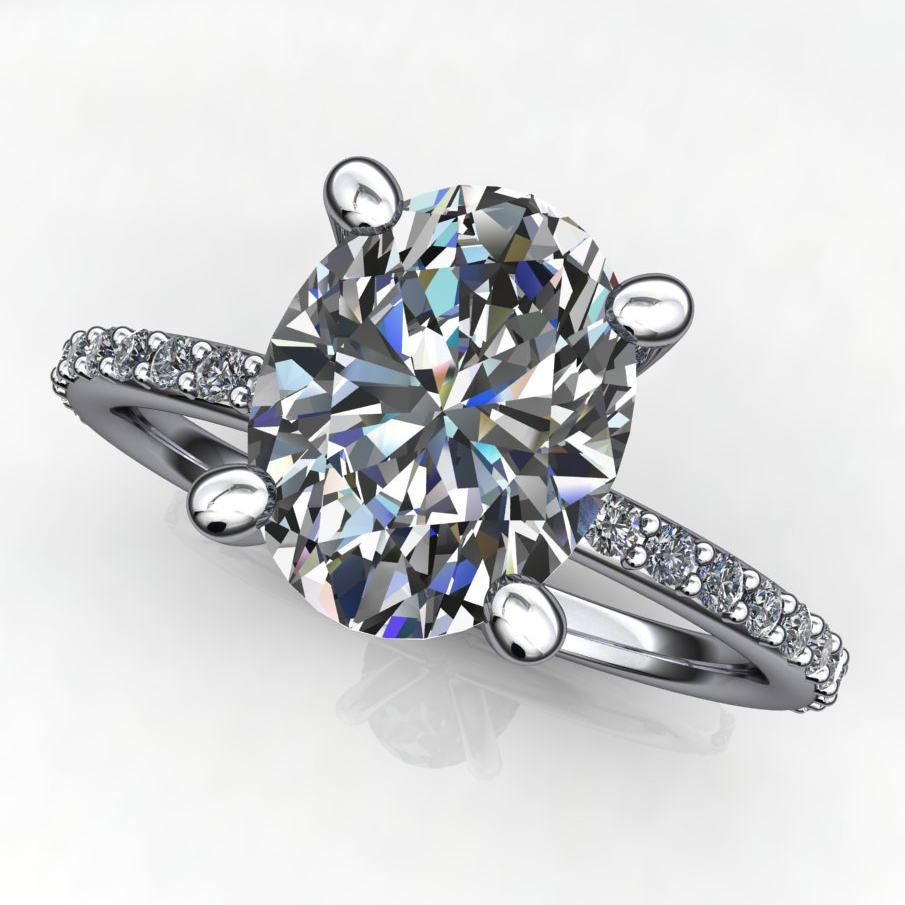 Moissanite and diamond engagement ring a beautiful carat oval