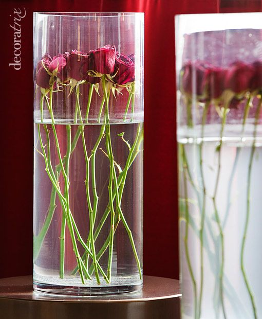 Jarrones de cristal con flores sumergidas rosas - Decoracion de jarrones de cristal ...