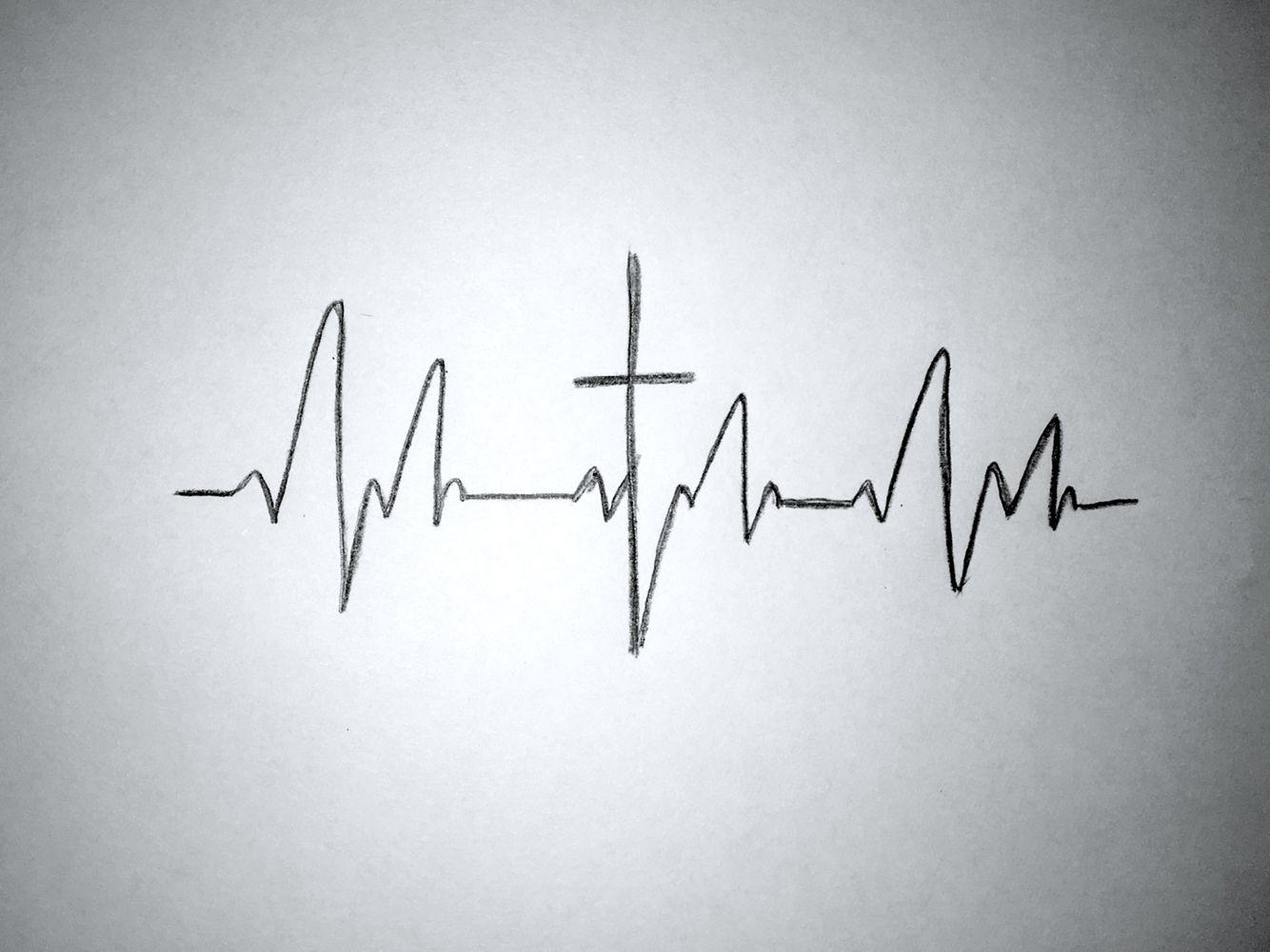 Heartbeat Line Art : Tattoo idea cross in middle of a heartbeat hair makeup