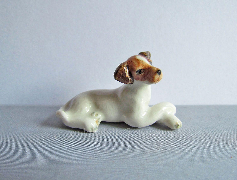 cute Poodle animal dog handmade ceramic dollhouse miniature figurine collectible