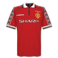 9ee15d24591 MANCHESTER UNITED HOME 98-00 RETRO JERSEY- THE TREBLE ...