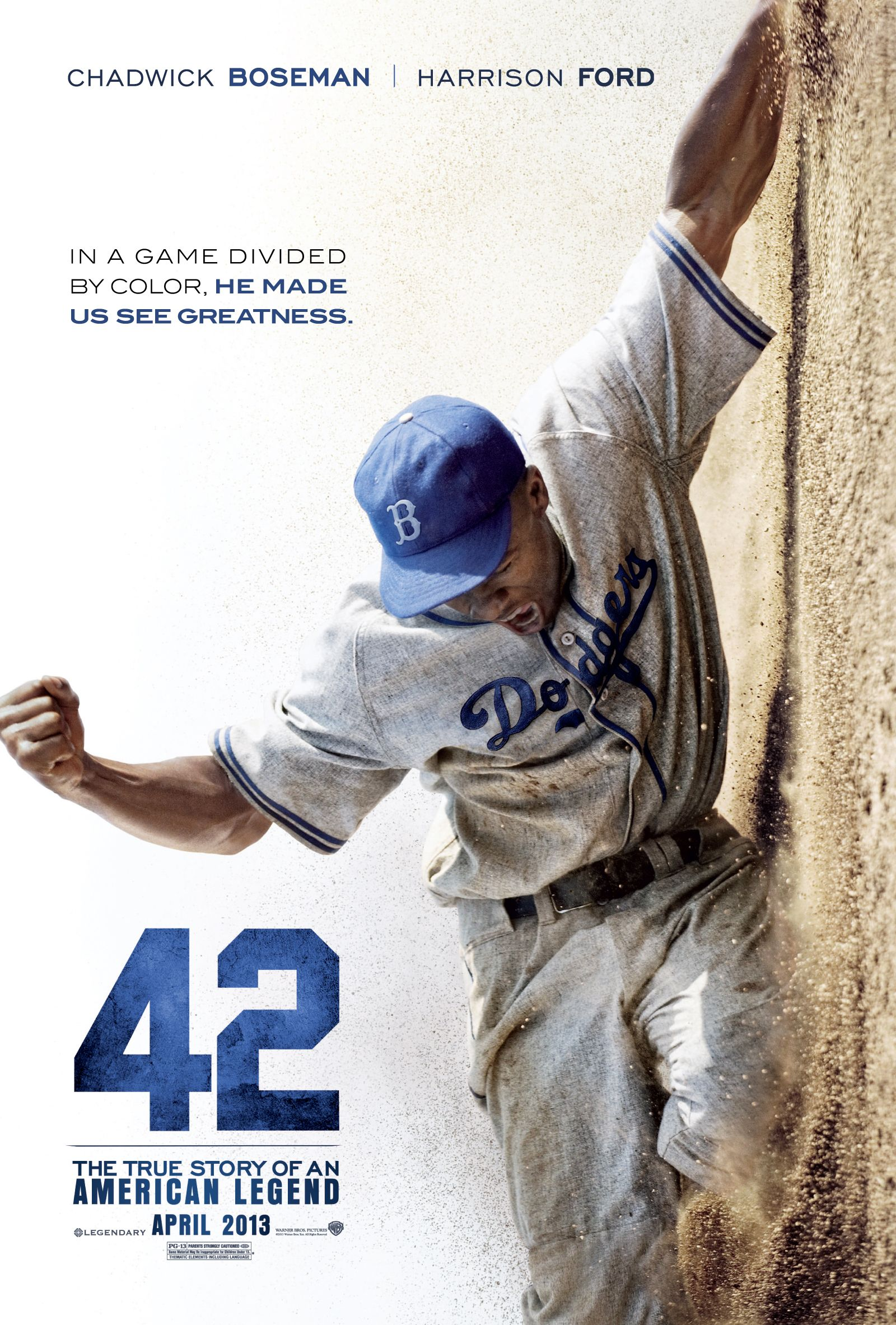 In A Game Divided By Color He Made Us See Greatness 42movie The True Story Of Jackierobinson 42 Movie Baseball Movies Jackie Robinson