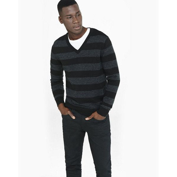 Express Rugby Stripe V Neck Sweater (105 BRL) ❤ liked on Polyvore ...