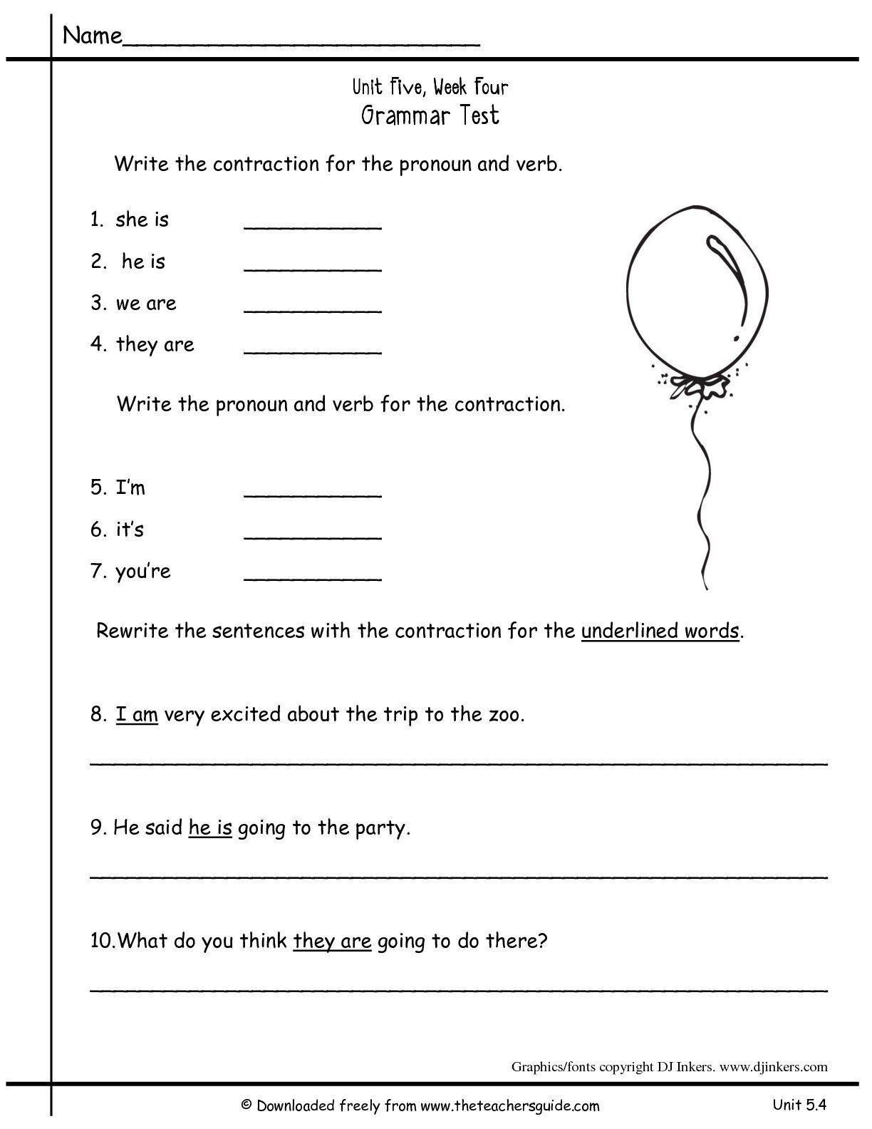 First Grade Contraction Worksheets   Printable Worksheets and Activities  for Teachers [ 1584 x 1224 Pixel ]