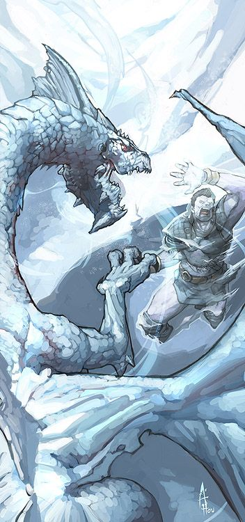 The cold dragon Kharan Forankor eliminate the threath of a attacking fighter troll with a well aimed cold blast.