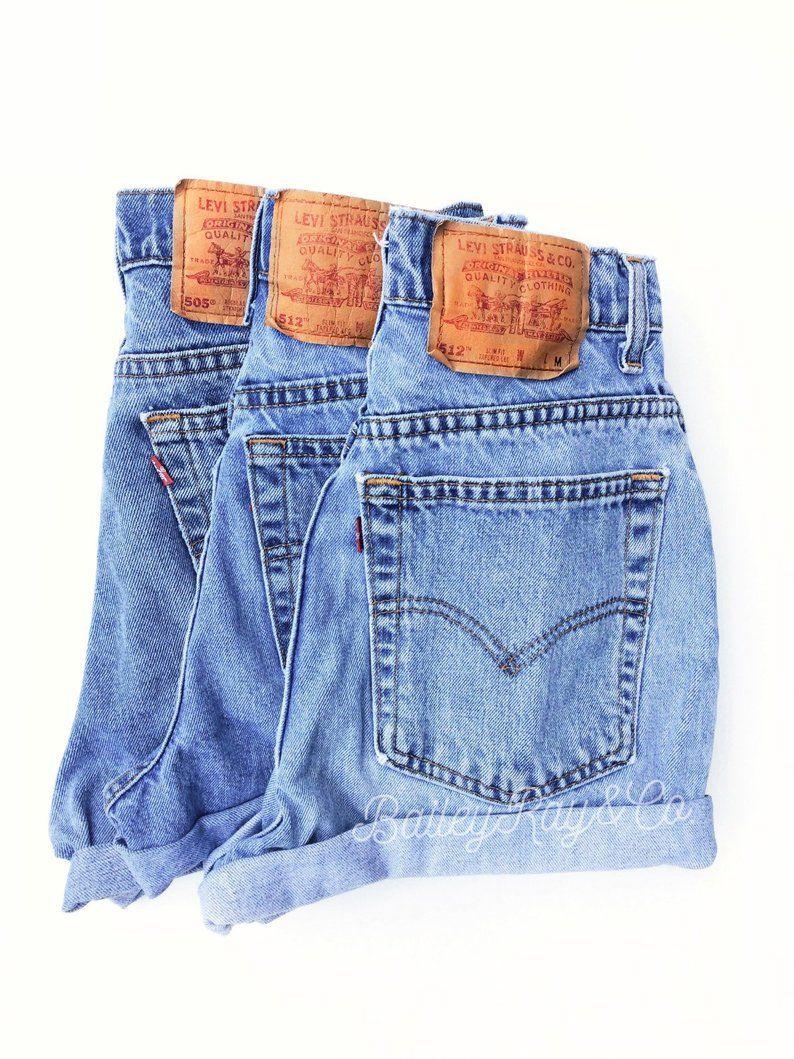 Vintage Levis High Waisted Denim Shorts All Sizes Etsy Vintage Denim Shorts Vintage Levi Shorts High Waisted Denim