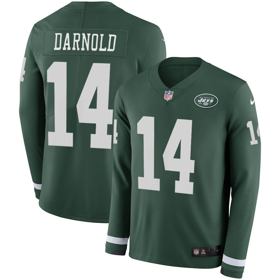 4196a2943 Women New York Jets 14 Darnold green Limited NFL Nike Therma Long Sleeve  Jersey
